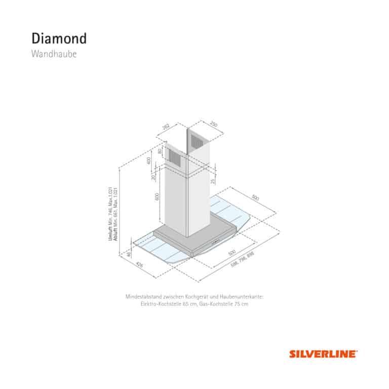 Maßzeichnung Diamond Mindestabstand zwischen Kochgerät und Haubenunterkante: Elektro-Kochstelle 65 cm, Gas-Kochstelle 75 cm
