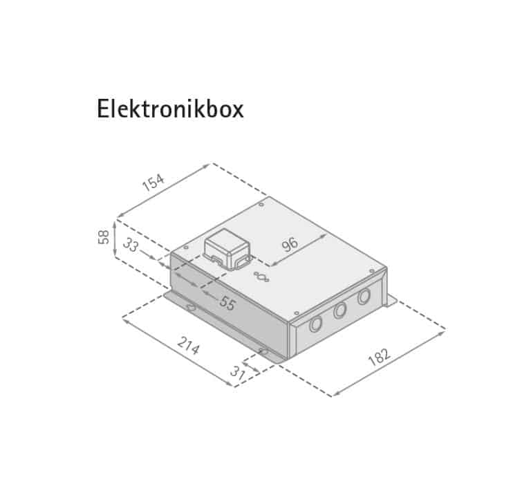 Maßzeichnung Elektronikbox FLOW-IN HiLight