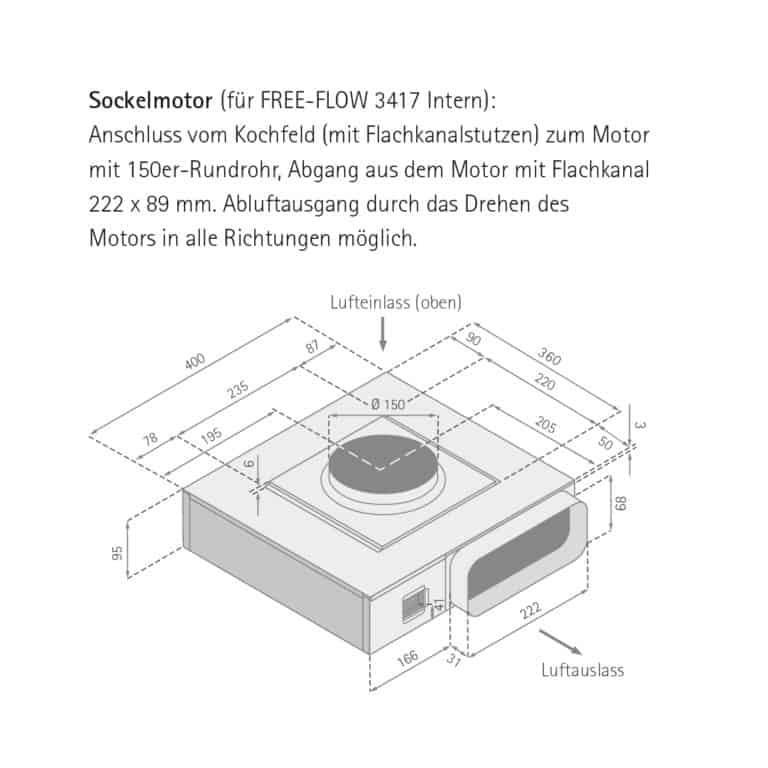 Maßzeichnung Sockelmotor FREE-FLOW 3417 Intern