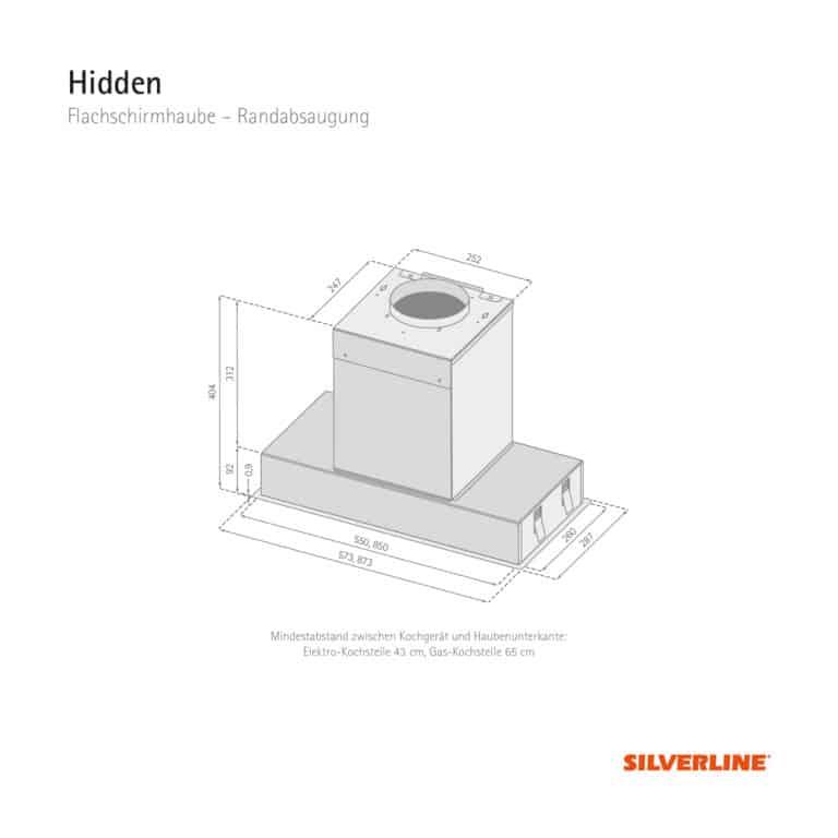 Maßzeichnung Hidden Mindestabstand zwischen Kochgerät und Haubenunterkante: Elektro-Kochstelle 43 cm, Gas-Kochstelle 65 cm
