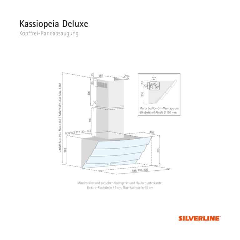 Maßzeichnung Kassiopeia Deluxe Mindestabstand zwischen Kochgerät und Haubenunterkante: Elektro-Kochstelle 45 cm, Gas-Kochstelle 65 cm