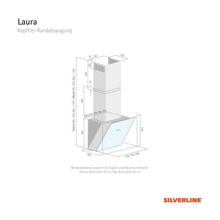 Maßzeichnung Laura Mindestabstand zwischen Kochgerät und Haubenunterkante: Elektro-Kochstelle 45 cm, Gas-Kochstelle 65 cm