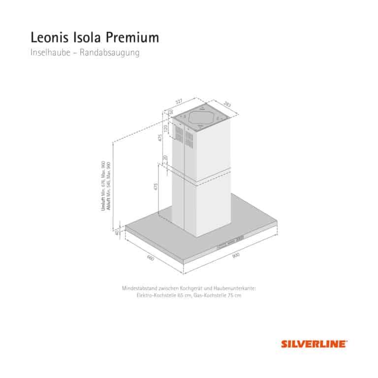 Maßzeichnung Leonis Isola Premium Mindestabstand zwischen Kochgerät und Haubenunterkante: Elektro-Kochstelle 65 cm, Gas-Kochstelle 75 cm