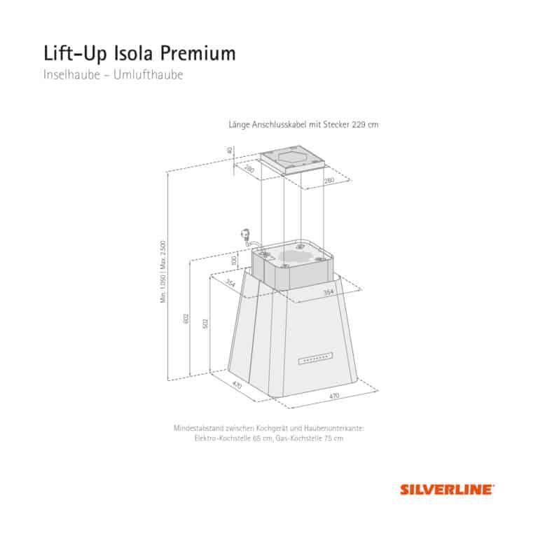 Maßzeichnung Lift-Up Isola Premium Mindestabstand zwischen Kochgerät und Haubenunterkante: Elektro-Kochstelle 65 cm, Gas-Kochstelle 75 cm