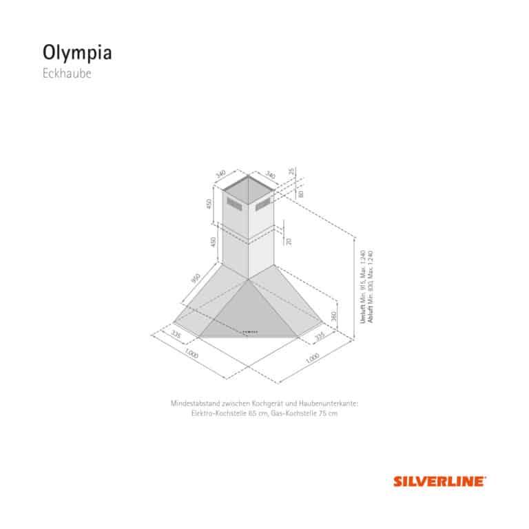Maßzeichnung Olympia Mindestabstand zwischen Kochgerät und Haubenunterkante: Elektro-Kochstelle 65 cm, Gas-Kochstelle 75 cm