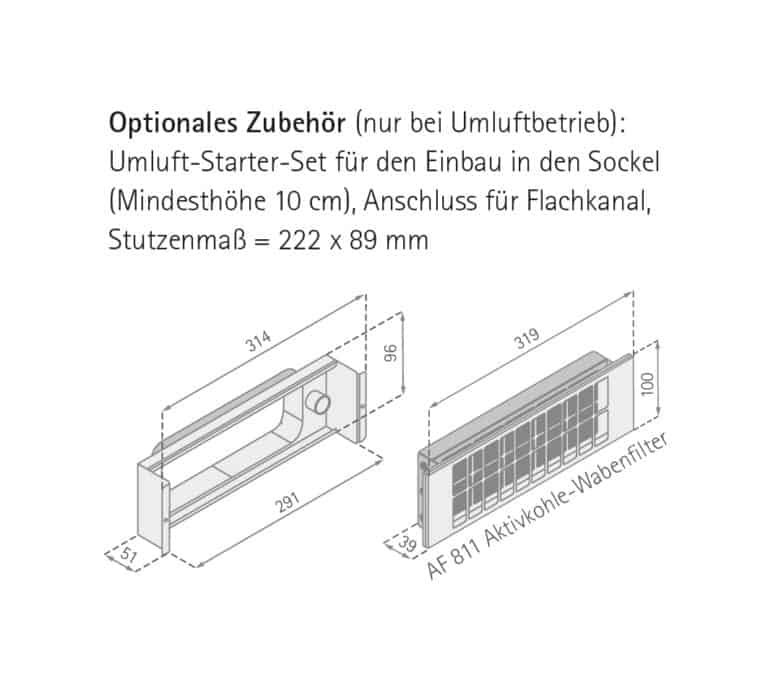 Maßzeichnung Optionales Zubehör FLOW-IN Advanced