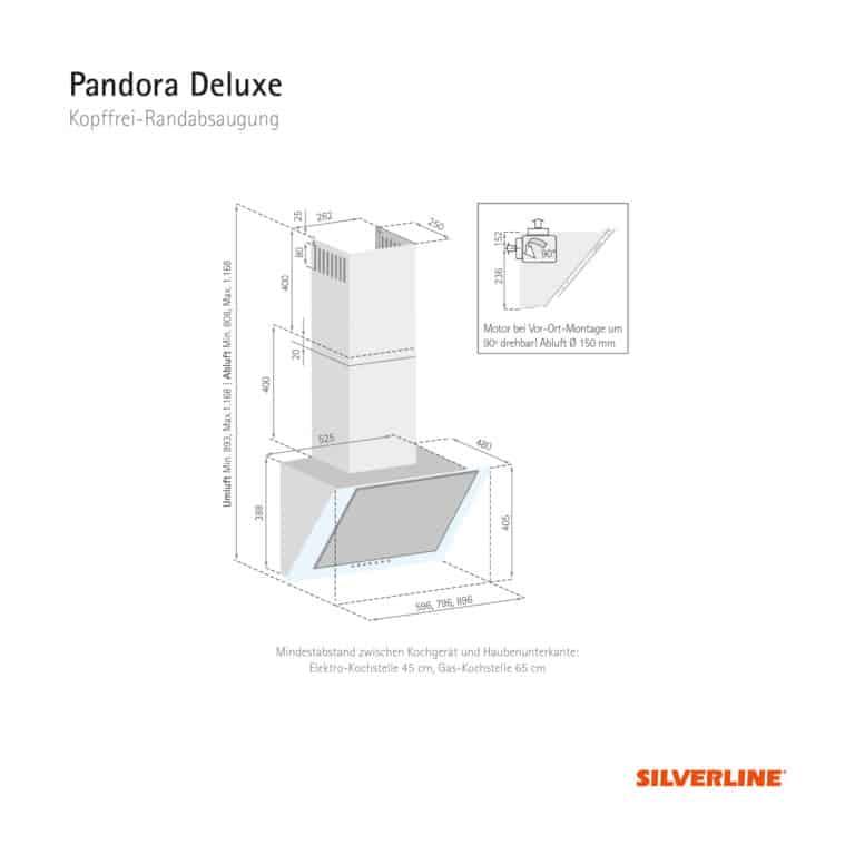 Maßzeichnung Pandora Deluxe Mindestabstand zwischen Kochgerät und Haubenunterkante: Elektro-Kochstelle 45 cm, Gas-Kochstelle 65 cm