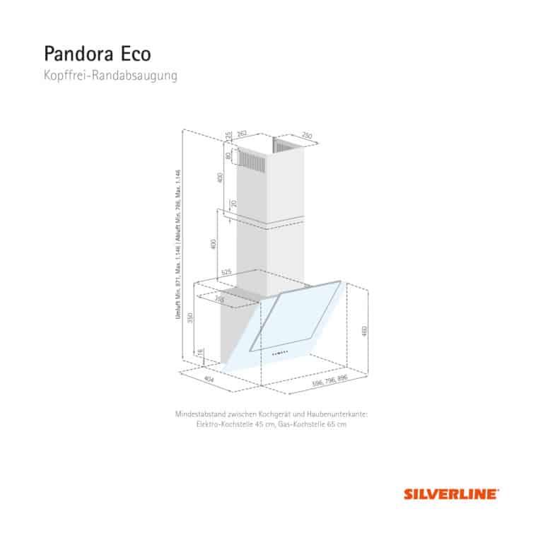 Maßzeichnung Pandora Eco Mindestabstand zwischen Kochgerät und Haubenunterkante: Elektro-Kochstelle 45 cm, Gas-Kochstelle 65 cm