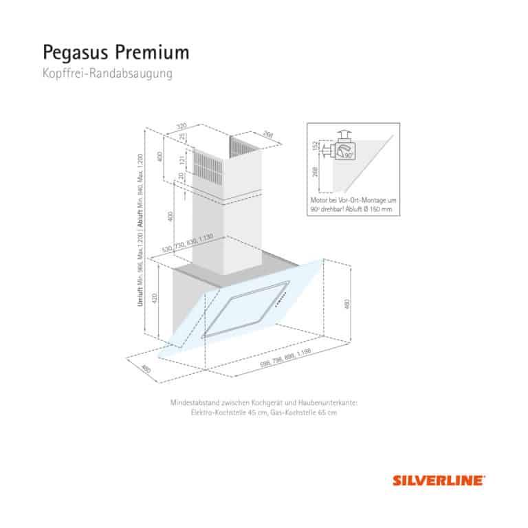 Maßzeichnung Pegasus Premium Mindestabstand zwischen Kochgerät und Haubenunterkante: Elektro-Kochstelle 45 cm, Gas-Kochstelle 65 cm