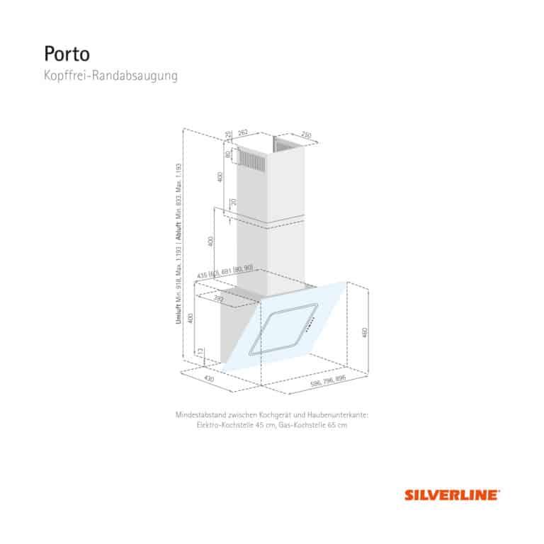 Maßzeichnung Porto Mindestabstand zwischen Kochgerät und Haubenunterkante: Elektro-Kochstelle 45 cm, Gas-Kochstelle 65 cm
