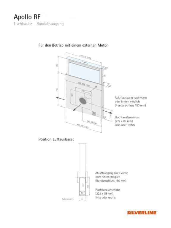 Maßzeichnung + Position Luftauslässe Apollo RF - für den Betrieb mit externem Motor