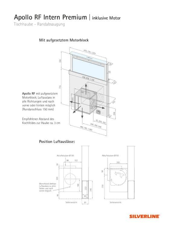 Maßzeichnung + Position Luftauslässe Apollo RF Intern Premium - mit aufgesetztem Motorblock