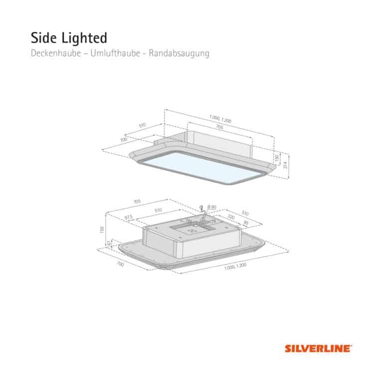 Maßzeichnung Side Lighted