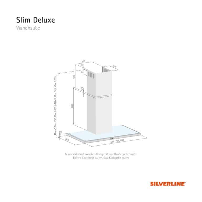 Maßzeichung Slim Deluxe Mindestabstand zwischen Kochgerät und Haubenunterkante: Elektro-Kochstelle 65 cm, Gas-Kochstelle 75 cm