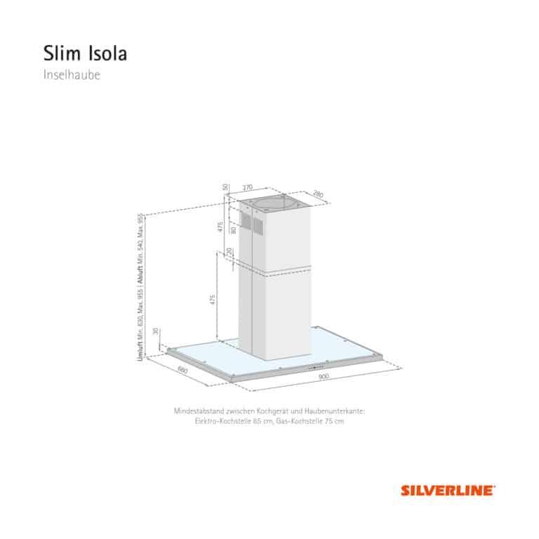 Maßzeichnung Slim Isola Mindestabstand zwischen Kochgerät und Haubenunterkante: Elektro-Kochstelle 65 cm, Gas-Kochstelle 75 cm