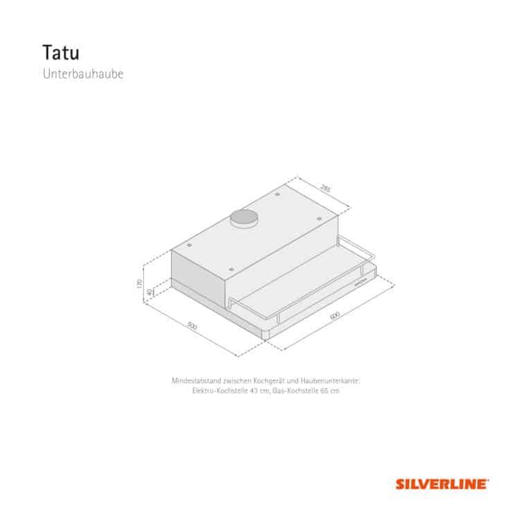 Maßzeichnung Tatu Mindestabstand zwischen Kochgerät und Haubenunterkante: Elektro-Kochstelle 43 cm, Gas-Kochstelle 65 cm