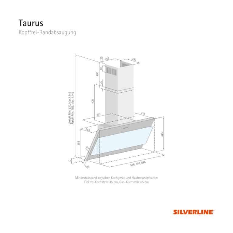 Maßzeichnung Taurus Mindestabstand zwischen Kochgerät und Haubenunterkante: Elektro-Kochstelle 45 cm, Gas-Kochstelle 65 cm