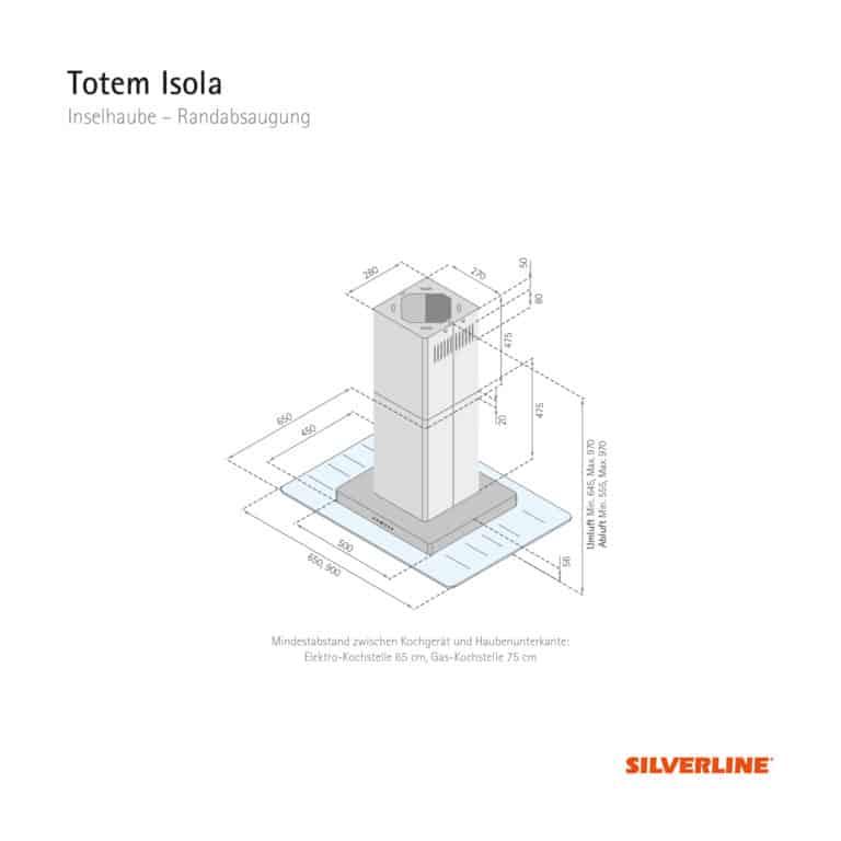 Maßzeichnung Totem Isola Mindestabstand zwischen Kochgerät und Haubenunterkante: Elektro-Kochstelle 65 cm, Gas-Kochstelle 75 cm