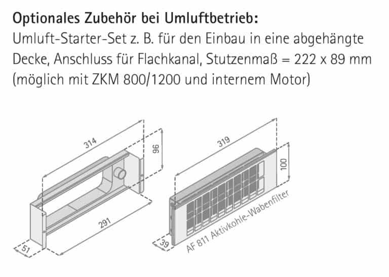 Maßzeichnung Umluft-Starter-Set für den Einbau in eine abgehängte Decke - Quadra