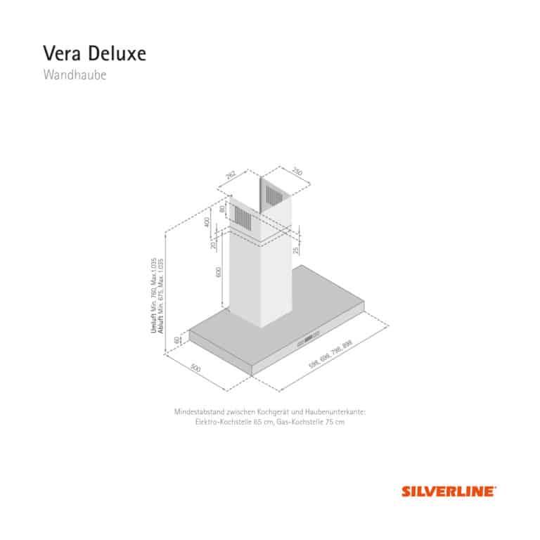 Maßzeichung Vera Deluxe Mindestabstand zwischen Kochgerät und Haubenunterkante: Elektro-Kochstelle 65 cm, Gas-Kochstelle 75 cm