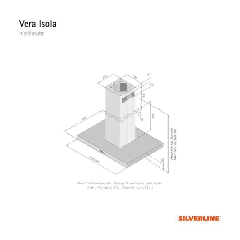 Maßzeichnung Vera Isola Mindestabstand zwischen Kochgerät und Haubenunterkante: Elektro-Kochstelle 65 cm, Gas-Kochstelle 75 cm