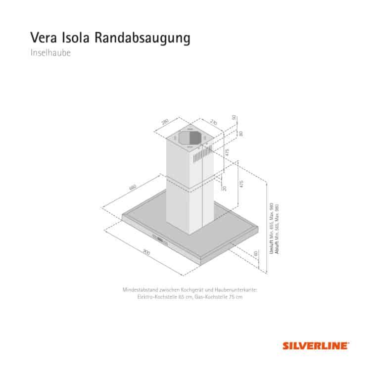 Maßzeichnung Vera Isola Randabsaugung Mindestabstand zwischen Kochgerät und Haubenunterkante: Elektro-Kochstelle 65 cm, Gas-Kochstelle 75 cm