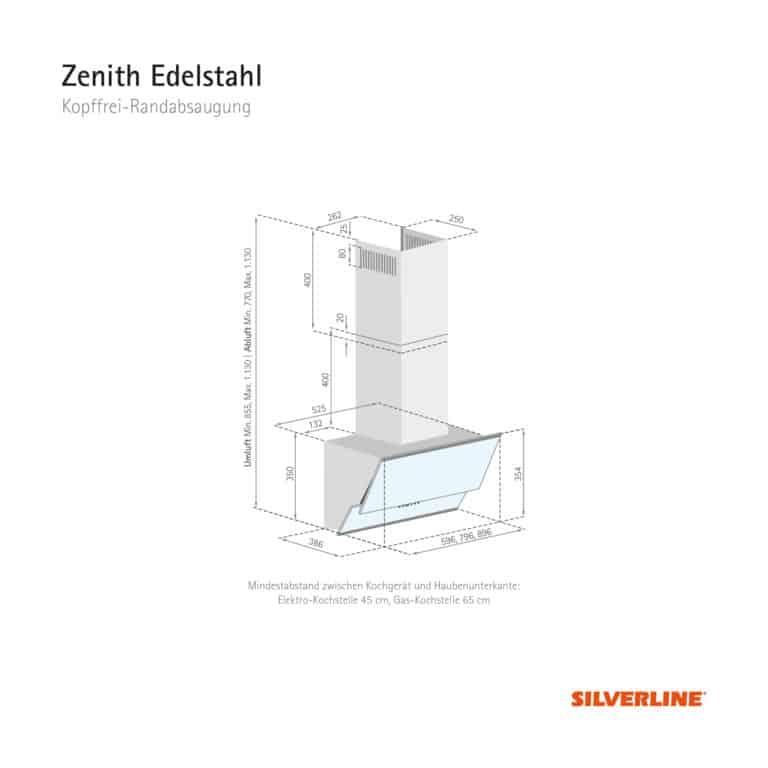Maßzeichnung Zenith Edelstahl Mindestabstand zwischen Kochgerät und Haubenunterkante: Elektro-Kochstelle 45 cm, Gas-Kochstelle 65 cm