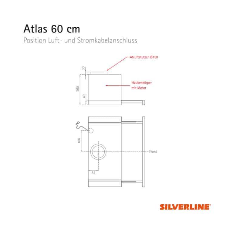 Position Luft- und Stromkabelauslass Atlas 60 cm