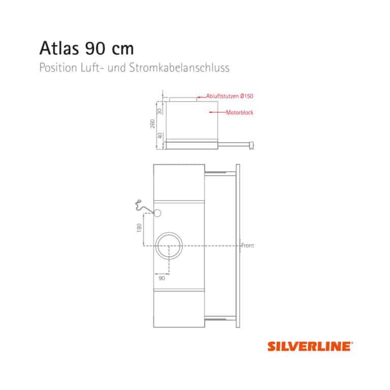 Position Luft- und Stromkabelauslass Atlas 90 cm