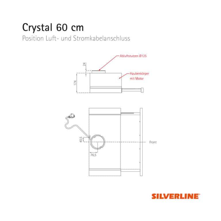 Position Luft- und Stromkabelauslass Crystal 60 cm
