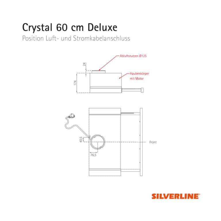 Position Luft- und Stromkabelauslass Crystal 60 cm Deluxe