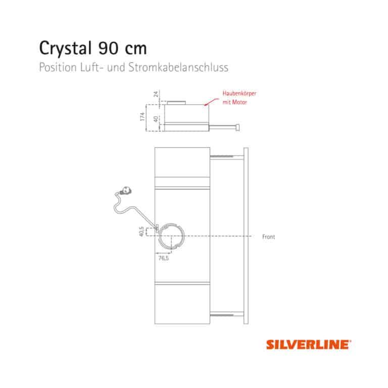 Position Luft- und Stromkabelauslass Crystal 90 cm