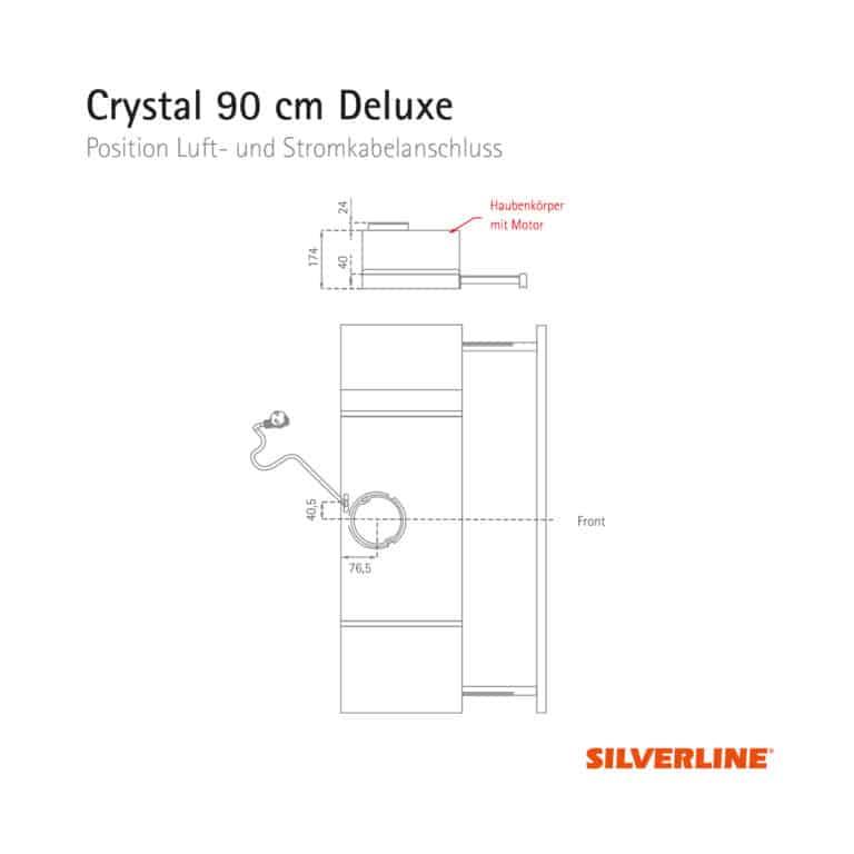 Position Luft- und Stromkabelauslass Crystal 90 cm Deluxe