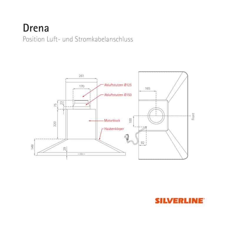 Position Luft- und Stromkabelauslass Drena