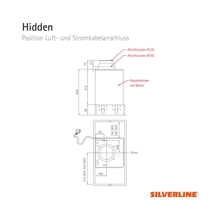 Position Luft- und Stromkabelauslass Hidden