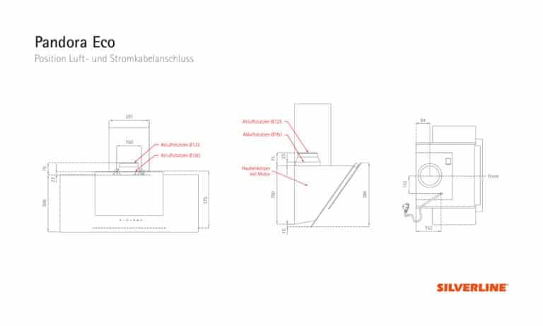 Position Luft- und Stromkabelauslass Pandora Eco