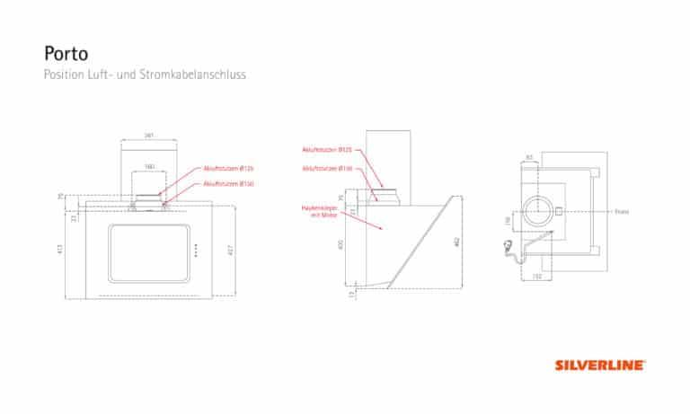 Position Luft- und Stromkabelauslass Porto