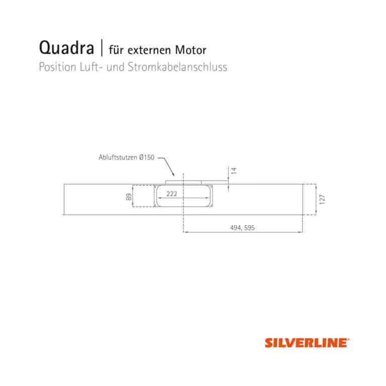 Position Luftauslass und Gerätemaße Quadra