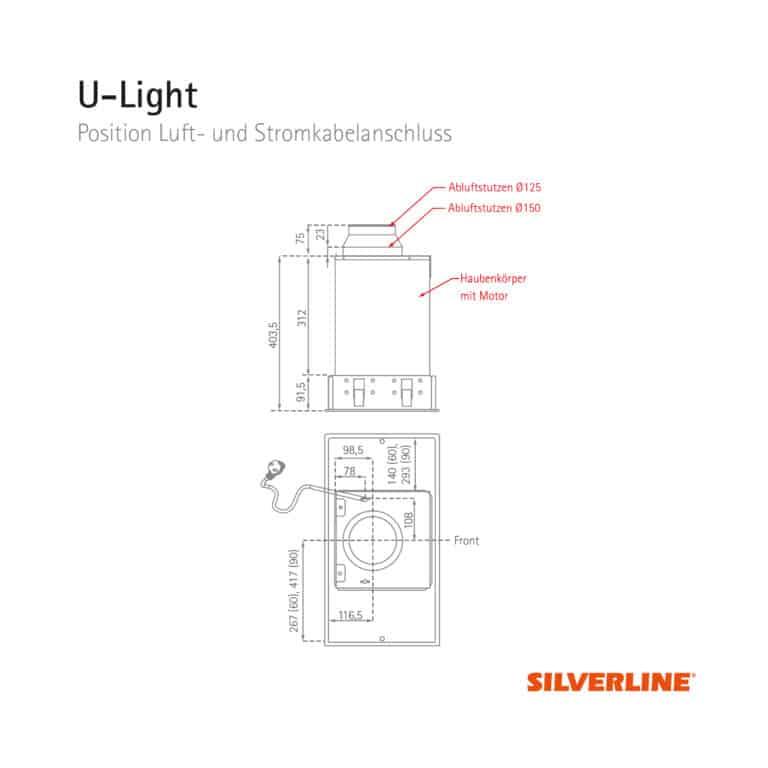 Position Luft- und Stromkabelauslass U-Light