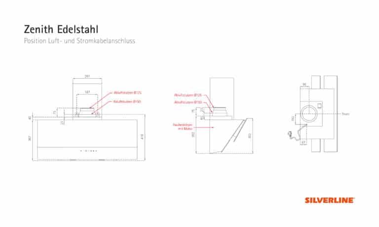 Position Luft- und Stromkabelauslass Zenith Edelstahl