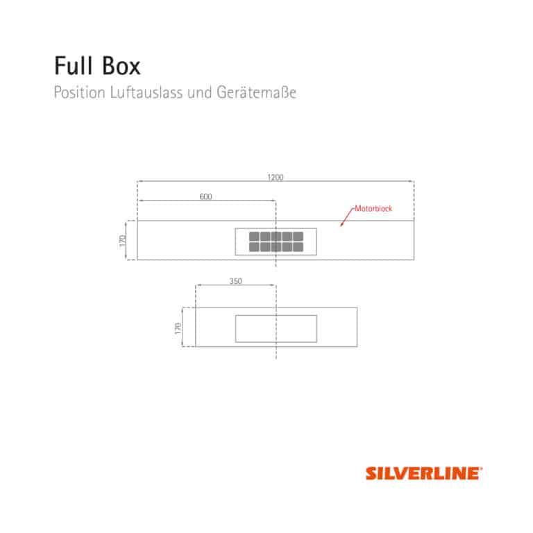 Position Luftauslass und Gerätemaße Full Box