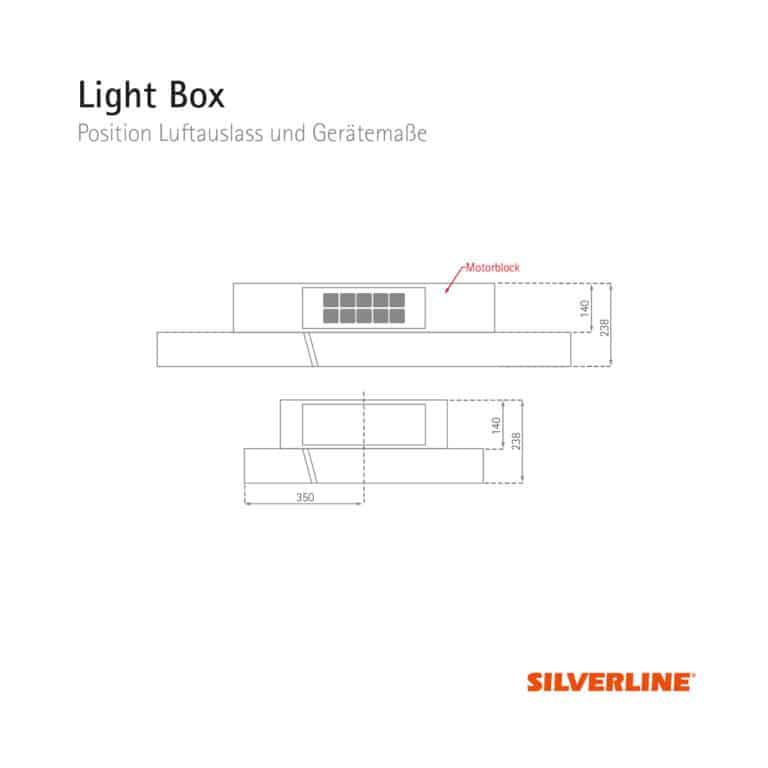 Position Luftauslass und Gerätemaße Light Box