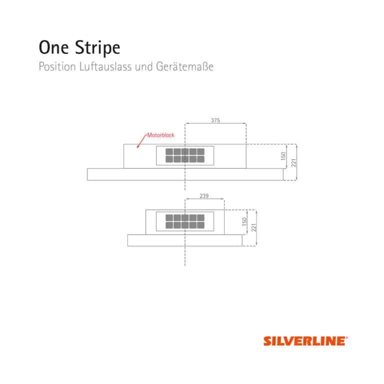 Position Luftauslass und Gerätemaße One Stripe
