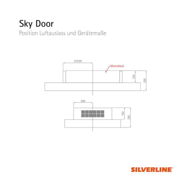 Position Luftauslass und Gerätemaße Sky Door