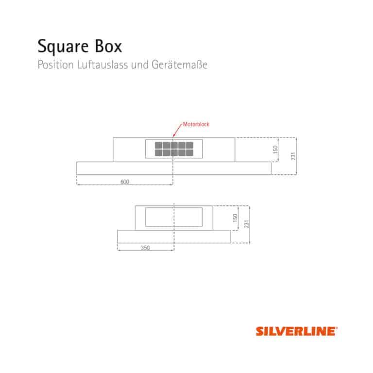Position Luftauslass und Gerätemaße Square Box