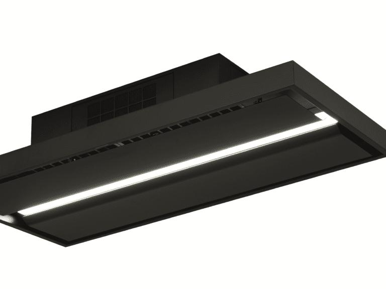 Schwarz, 120 cm, Aktivkohle-Wabenfilter frontal montiert