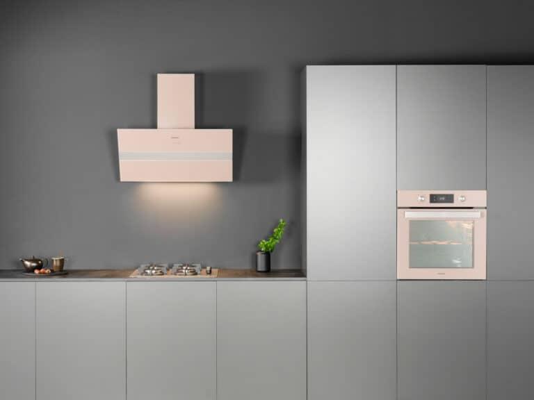 Korpus Grau / Minkglas, Schacht Edelstahl, Deko-Applikation in Aluminium, 90 cm