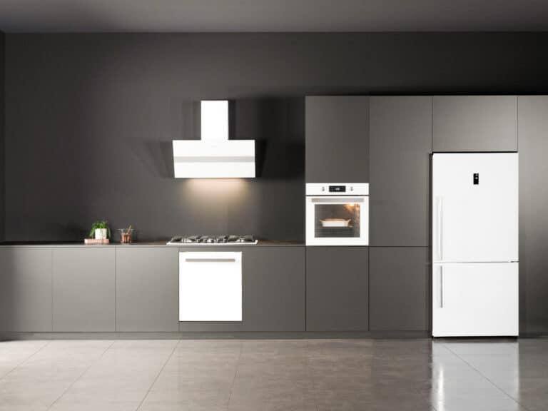 Korpus Grau / Weißglas, Schacht Edelstahl, Deko-Applikation in Aluminium, 90 cm