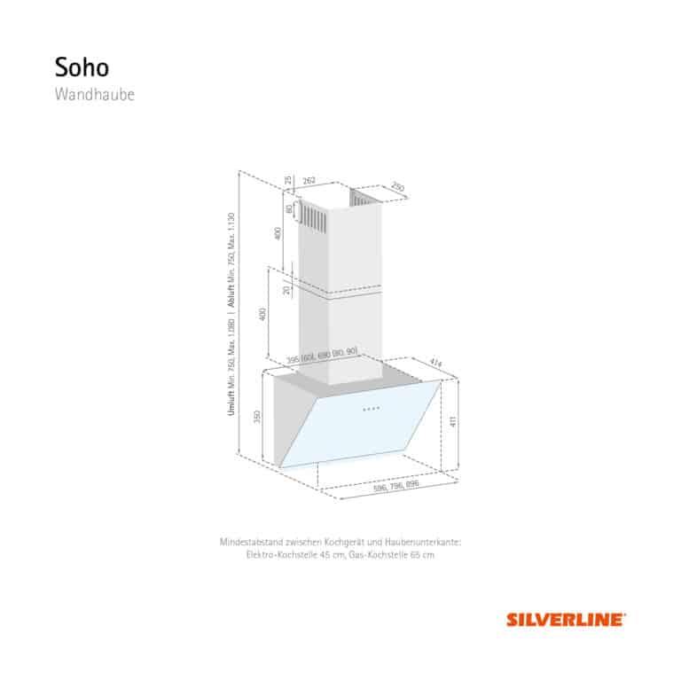 Maßzeichnung Soho Mindestabstand zwischen Kochgerät und Haubenunterkante: Elektro-Kochstelle 45 cm, Gas-Kochstelle 65 cm