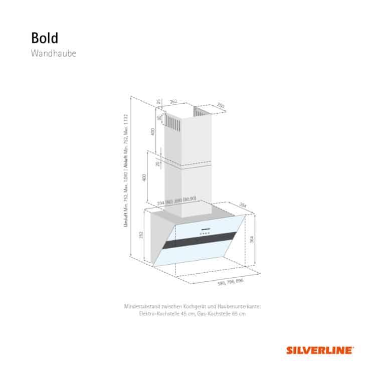 Maßzeichnung Bold Mindestabstand zwischen Kochgerät und Haubenunterkante: Elektro-Kochstelle 45 cm, Gas-Kochstelle 65 cm